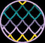 Logo Smocze Skarby - koło wypełnione kolorową łuską