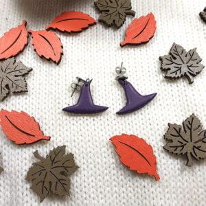 Kolczyki kapelusze z kolekcji Wiedźmi Czas - Smocze Skarby