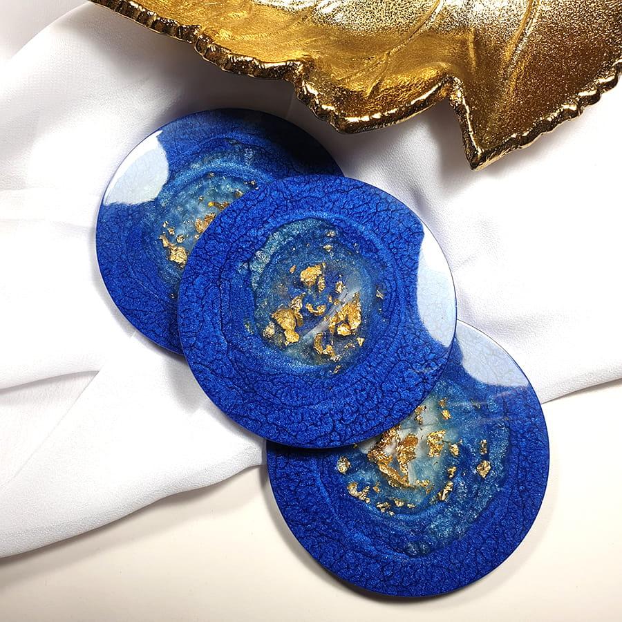 Podkładki szafirowe, zestaw 3 sztuk - Okrągło Mi - Smocze Skarby