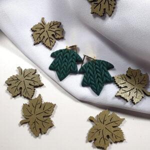 """Jesienne kolczyki sweterkowe, zielone """"Jesień, jesień! I"""" - Smocze Skarby"""