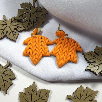 """Jesienne kolczyki sweterkowe, żółte """"Jesień, jesień! V"""" - Smocze Skarby"""